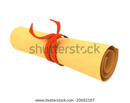 3d rendered rolled magic scroll - stock photo