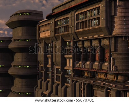 3D rendered sci-fi scene of industrial town - stock photo