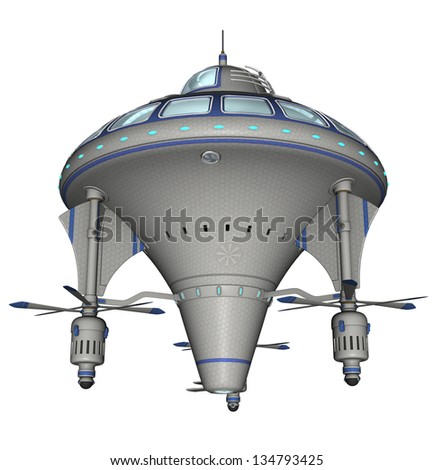 3D rendered scifi spaceship on white background isolated - stock photo