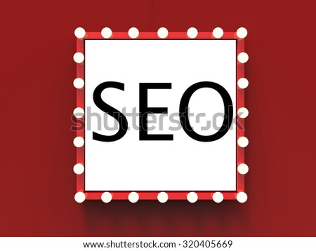 3d rendered seo text on red frame with light bulbs surround - stock photo