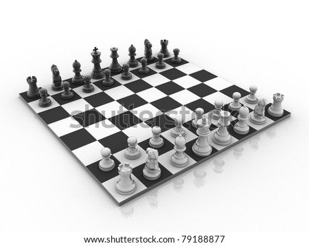 3d rendered Set of chess figures on the playing board - stock photo