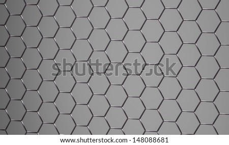 3D rendered shiny abstract grey metallic surface - stock photo
