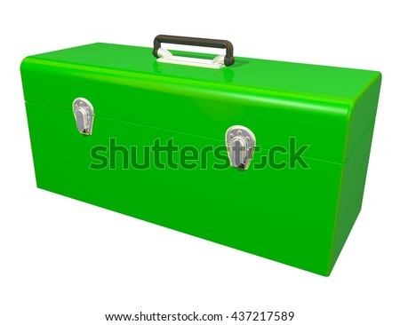 3D Rendered shiny green toolbox ideal for an icon or clip art. Isolated on a white background. - stock photo
