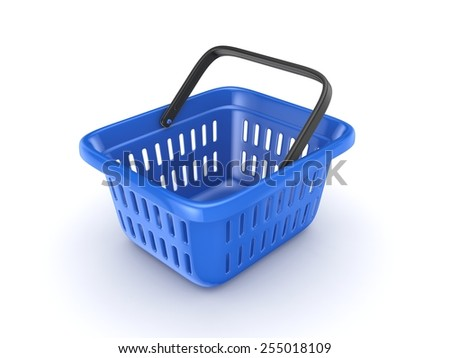 3d rendered shopping basket isolated on white background. - stock photo