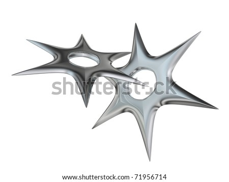 3d rendered shuriken ninja weapon - stock photo