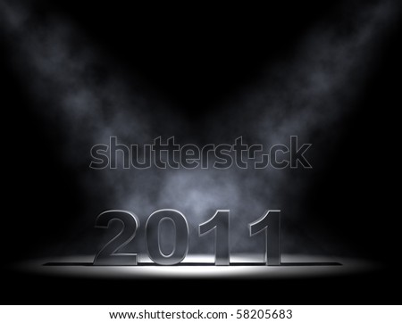 3d rendered 2011 sign in spotlight and smoke - stock photo