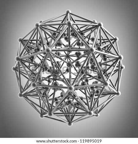 3D rendered silver glossy molecules structure High resolution - stock photo