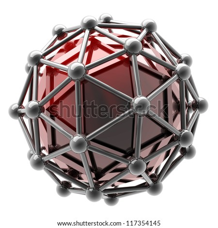 3D rendered silver glossy molecules structure isolated on white background High resolution - stock photo