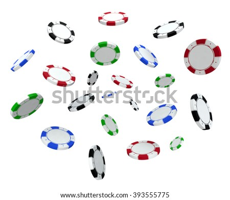 3D rendered Simple casino poker chips in the air - stock photo