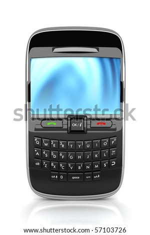 3D Rendered smart phone isolated - stock photo