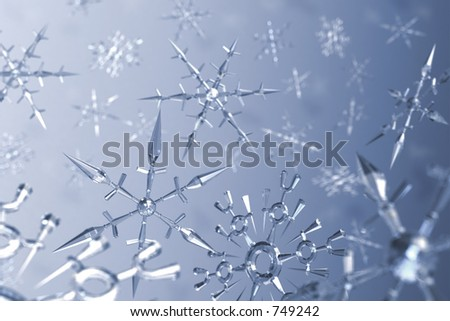 3D rendered snow flake crystals background - stock photo