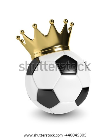 3d rendered soccer ball with a golden crown isolated over white background - stock photo