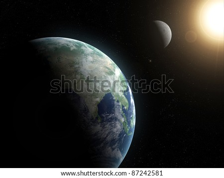 3d rendered space scene with moon, sun and earth - stock photo