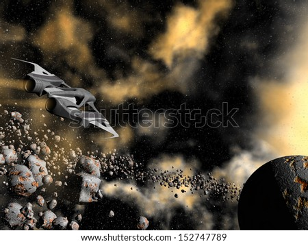 3D rendered space ship flying above asteroids in universe - stock photo