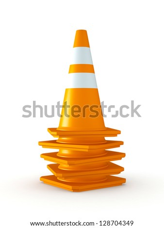 3D Rendered Stack of Orange Traffic Cones on White Background - stock photo