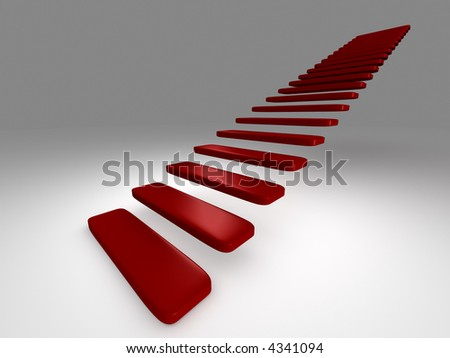 3D rendered stairs on the neutral background - stock photo