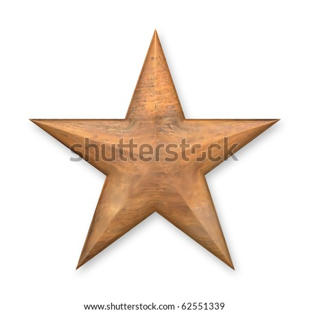 3D rendered star with old tarnished copper textured effect. - stock photo