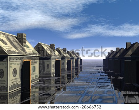3D rendered street of money made houses with reflection and blue sky