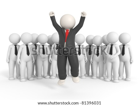 3d rendered successful boss jumping high in front of his team - Isolated - stock photo