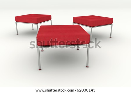 3d rendered three red chairs