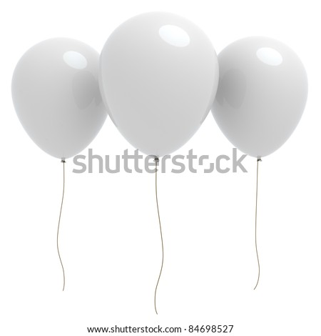 3d rendered three white balloons with copyspace isolated on white background - stock photo