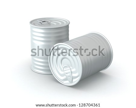 3D Rendered Tin Cans on White Background - stock photo