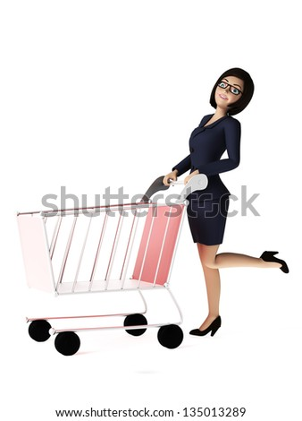 3d rendered toon character - business woman