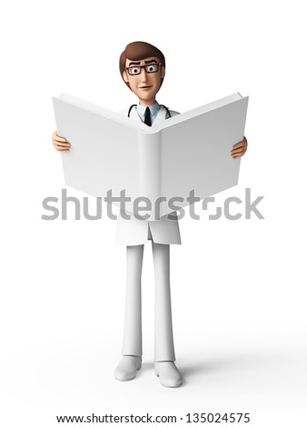 3d rendered toon character - the doctor - stock photo