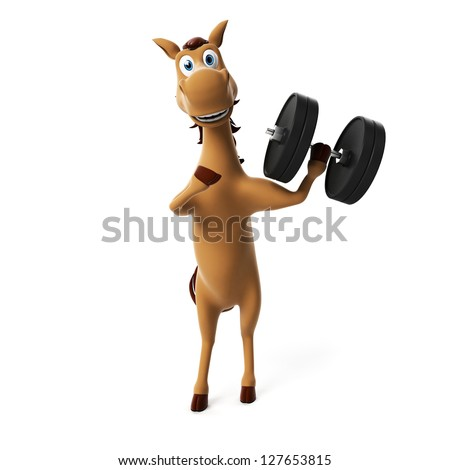 3d rendered toon horse - stock photo