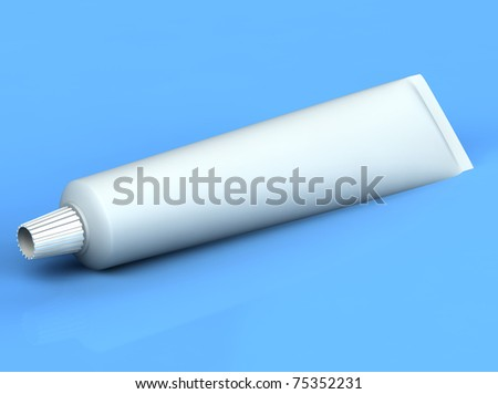 3d rendered toothpase on the blue background