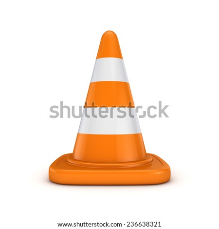 3d rendered traffic cone isolated on white background. - stock photo