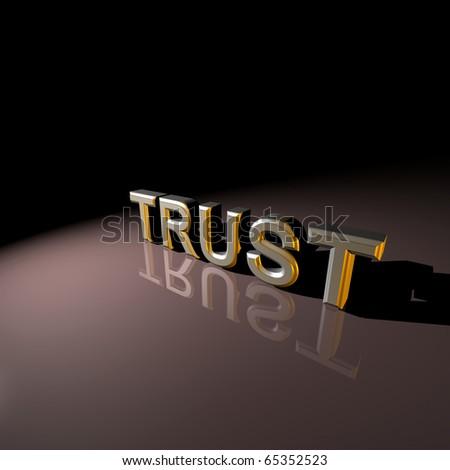 3D rendered TRUST text,3D art - stock photo