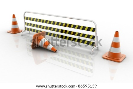 3d rendered under construction signs - stock photo