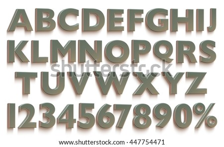 3D rendered uppercase letters with numbers on isolated white background.