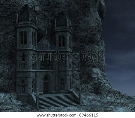 3D rendered watchtower on the rock in night - stock photo