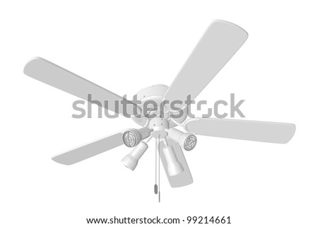 3D Rendered White Ceiling Fan on a White Background - stock photo