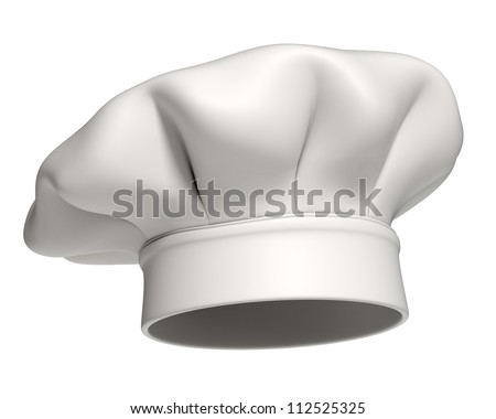 3d rendered white chef hat isolated on white background - stock photo