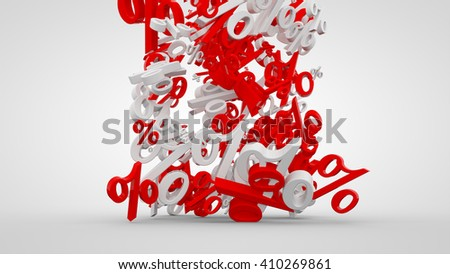 3D rendered white sale background with white and red percent symbols.