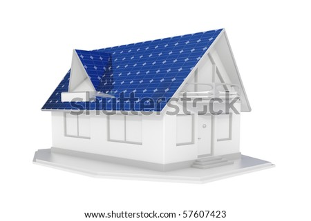 3d rendered white solar panel house islated - stock photo