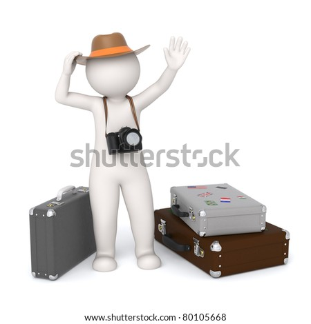 3d rendered white tourist with a digital camera waiting near his baggage and waving - Isolated - stock photo