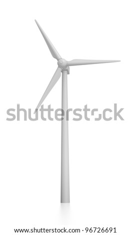 3D Rendered Windmill on a White Background - stock photo