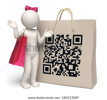 3d rendered woman standing near a giant shopping bag with printed matrix barcode aka QR code - stock photo