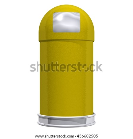 3D Rendered yellow trash can ideal for an icon or clip art. Isolated on a white background.