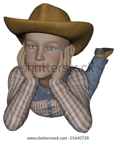 3D rendered young cowpoke on white background isolated
