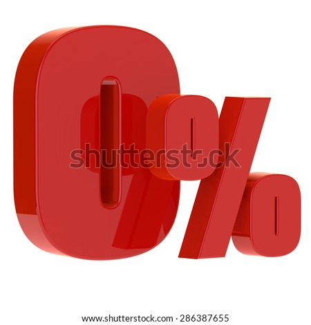 3D rendered zero percent on a white background - stock photo