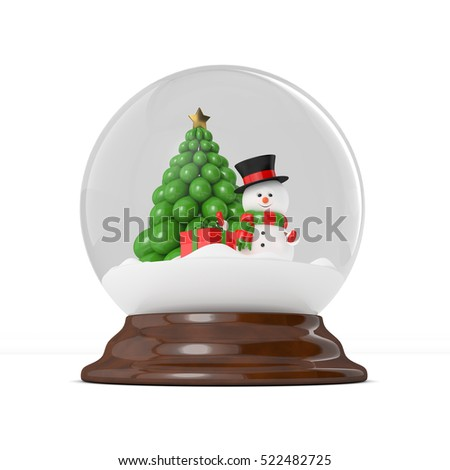 3d rendereing of snowman in a snow globe over white. Christmas concept.