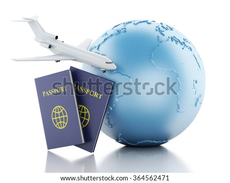3d renderer illustration. Airplane, passport and earth globe. Airline travel concept. Isolated white background - stock photo