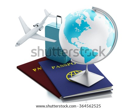 3d renderer illustration. Airplane, passport, earth globe and travel suitcases. Travel Concept. Isolated white background - stock photo