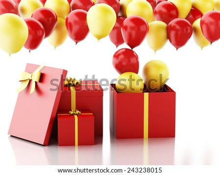 3d renderer illustration. Birthday gift box with red and yellow baloons isolated white background - stock photo