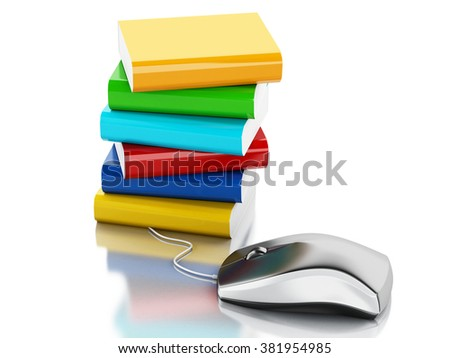 3d renderer illustration. Computer mouse and books. Online education concept. Isolated white background.  - stock photo